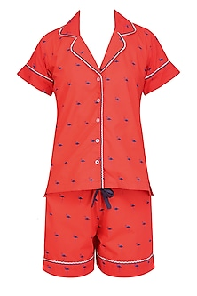 Red and Navy Blue Flamingos Printed Nightsuit Shirt and Shorts Set