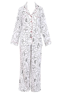 White and Black Bold Flower Monochrome Printed Nightsuit Set
