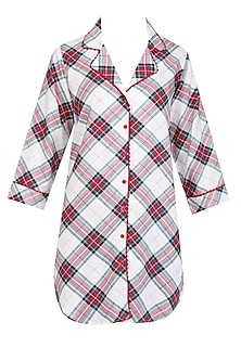 White, Red and Black Plaid Checks Nightsuit Shirt