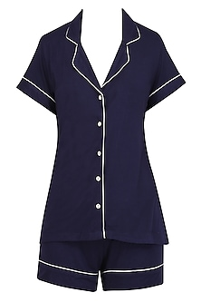 Navy Blue and White Lace Trims Nightsuit Shirts and Shorts Set