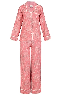 Pink Deer and Trees Printed Nightsuit Set