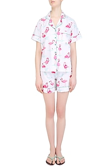 White and Pink Flamingos Printed Nightsuit Shirt and Shorts Set by Perch