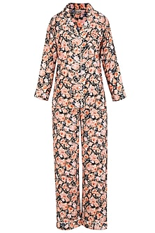 Black and Orange Floral Printed Nightsuit Set