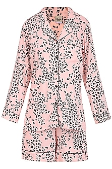 Pink and Black Spots Printed Nightsuit Shirt and Shorts Set