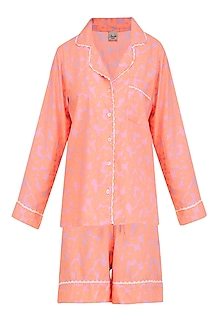 Peach Floral Printed Nightsuit Shirt and Shorts Set