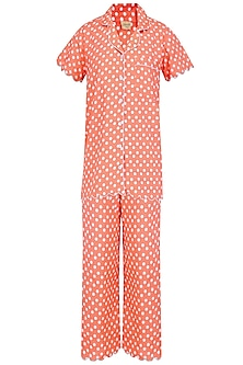 Orange and White Polka Dots Printed Nightsuit Set by Perch