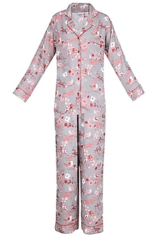 Grey and Orange Floral Printed Nightsuit Set