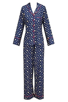 Navy Blue and Yellow Banana Print Nightsuit Set