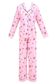 Pink and Orange Floral Printed Nightsuit Set