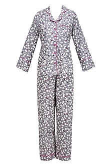 Grey Polka Dot and Floral Printed Nightsuit Set