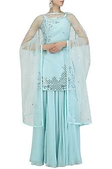 Aquamarine Blue Sequinned Kurta and Sharara Pants Set by Pooja Peshoria