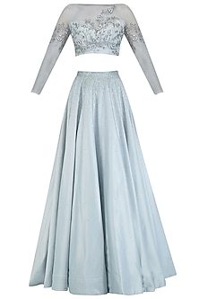 Grey Floral Embroidered Sheer Crop Top and Skirt Set by Pooja Peshoria