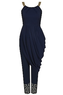 Navy Blue Drape Tunic and Embroidered Pants Set by Pooja Peshoria
