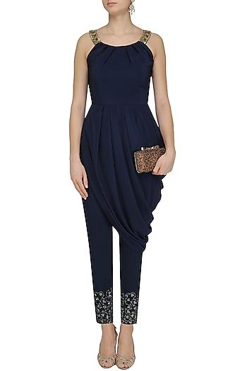 Blue Drape Tunic Embroidered Pants
