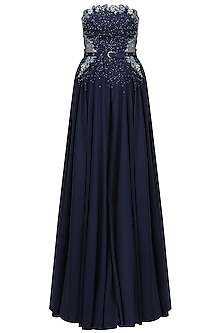 Navy Blue Floral Cutwork Flared Jumpsuit