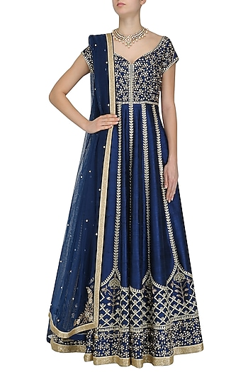 Blue Gold Embroidered Anarkali Set