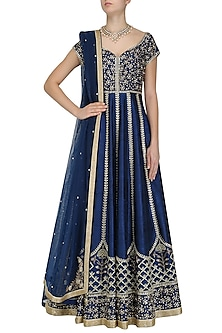 Navy Blue and Gold Embroidered Anarkali Set by Pooja Peshoria