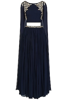 Navy Blue Floral Work Cape Sleeves Crop Top and Skirt Set