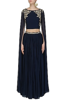 Navy Blue Floral Work Cape Sleeves Crop Top and Skirt Set by Pooja Peshoria