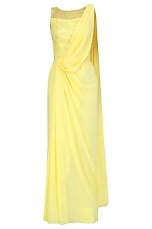 Lemon Yellow Hand Embroidered Drape Saree by Pooja Peshoria