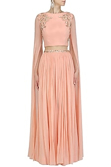 Peach Floral Work Cape Sleeves Crop Top and Skirt Set by Pooja Peshoria