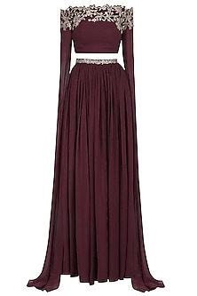 Marsala Off Shoulder Embroided Cape Sleeve Crop Top Skirt by Pooja Peshoria