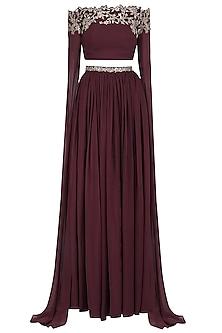 Marsala Off Shoulder Embroided Cape Sleeve Crop Top Skirt
