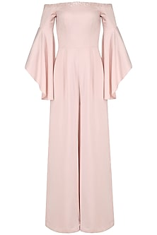 Soft Pink Off Shoulder Bell Sleeves Jumpsuit