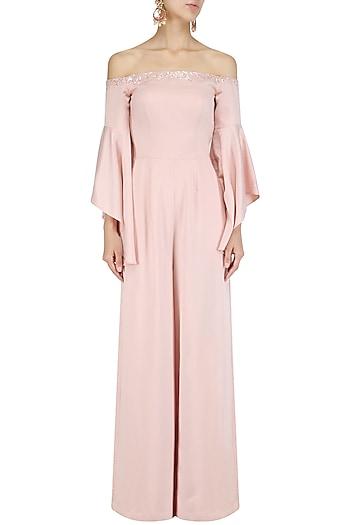 Pink Off Shoulder Bell Sleeves