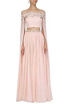 Pink Cape Sleeves Crop Top and Skirt Set by Pooja Peshoria