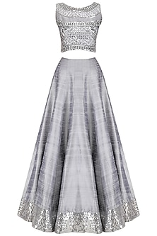 Grey Crystal Embroidered Crop Top and Skirt Set by Pooja Peshoria