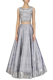 c595d189e5 Grey crystal embroidered crop top and skirt set available only at ...