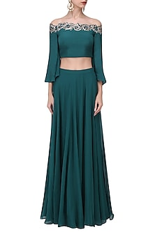 Teal Crystal and Cutdana Embellished Crop Top Skirt Set by Pooja Peshoria