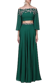 Bottle Green Crystal and Cutdana Embellished Crop Top Skirt Set by Pooja Peshoria