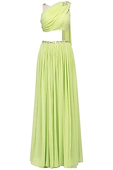 Lime Green Mukaish and Cutdana Work Draped Lehenga Set