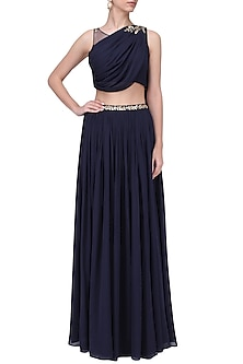 Navy Mukaish and Cutdana Work Draped Lehenga Set by Pooja Peshoria