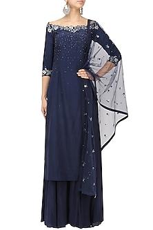 Navy Blue Crystal and Sequins Embellished Kurta and Sharara Set by Pooja Peshoria