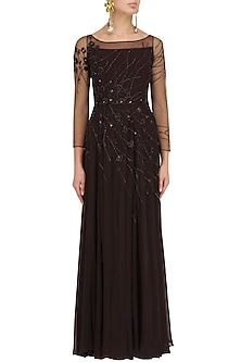 Marsala Hand Embellished Sheer Back Gown by Pooja Peshoria