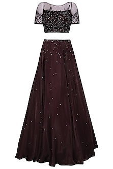 Deep Plum Sequins and Crystal Embellished Lehenga Set