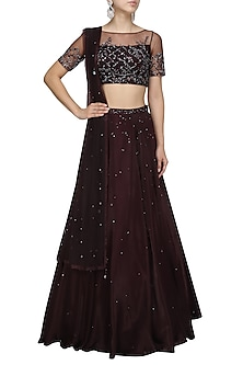Plum Sequins Crystal Embellished Lehanga