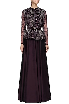 Deep Purple Embroidered Peplum Jacket with Sharara Set by Pooja Peshoria