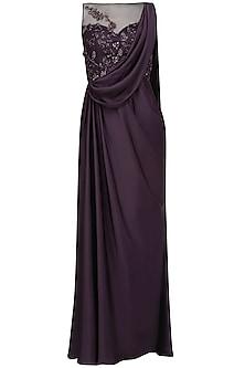 Deep Purple Crystal and Bead Embellished Draped Saree by Pooja Peshoria