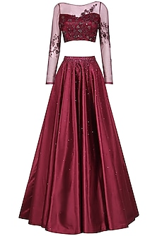 Wine Crystal and Bead Embellished Crop Top and Skirt Set