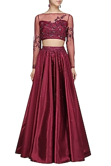 86ef5f6dc2 Wine Crystal and Bead Embellished Crop Top and Skirt Set by Pooja Peshoria