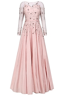 Soft Pink Crystal and Bead Embellished Gown