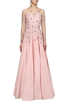 Soft Pink Crystal and Bead Embellished Gown by Pooja Peshoria