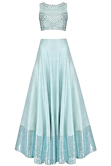 Aquamarine Blue Embellished Crop Top and Skirt Set by Pooja Peshoria