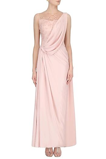 Pink Embellished Sheer Back Drape