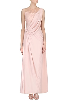 Soft Pink Embellished Sheer Back Drape Saree by Pooja Peshoria