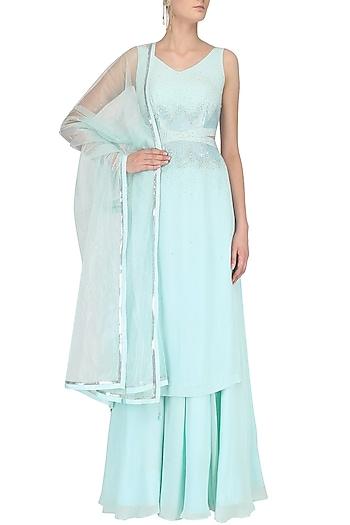 Powder Blue Sequins Embroidered Sharara Set by Pooja Peshoria